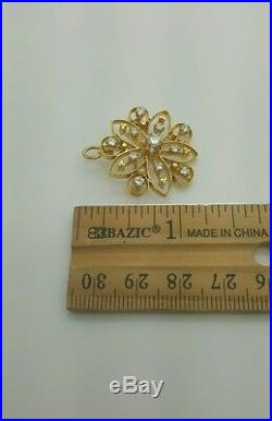 0.90 Ct. VINTAGE 14K YELLOW GOLD DIAMOND FLOWER FLORAL PENDANT BROOCH PIN VS G