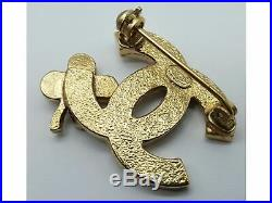 100%Auth CHANEL COCO Mark with Rhinestone Clover pin small size Brooch CC