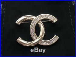 100% Authentic Rare Chanel CC Gold Tone Brooch Pin Crystal