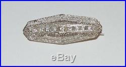 10K White Gold Art Deco 0.30TCW. Antique Brooch Pin Filigree Diamond Circa 1920's