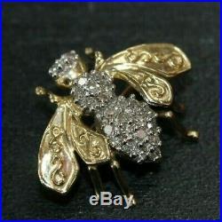 10K Yellow Gold Diamond Bee Bumblebee Brooch Pin 099CHJ
