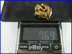 14K Antique Victorian Diamond Ruby Griffin Sea Serpent Dragon Watch Pin Brooch