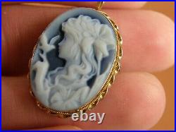 14K GOLD CARVED BLUE AGATE CAMEO GIRL FAIRY with BIRD LILLIES PENDANT BROOCH PIN