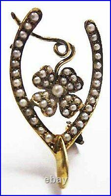 14K GOLD Seed Pearl Encrusted Wishbone + 4 Leaf Clover Pin ANTIQUE Estate Brooch