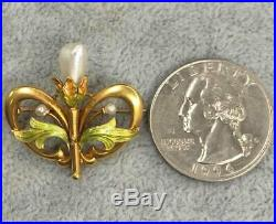 14K Gold Enamel Brooch Pin-Vintage Estate-Incredible French 1920's Art Nouveau