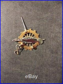 14K Gold & Enamel Daughters of the American Revolution DAR Brooch Pin Pendant