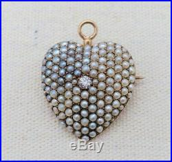 14K Gold PAVE SEED PEARL & DIAMOND HEART BROOCH / PENDANT Pin