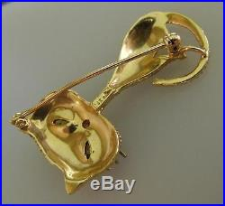 14K Gold & Ruby Siamese Cat Kitty Brooch Pin