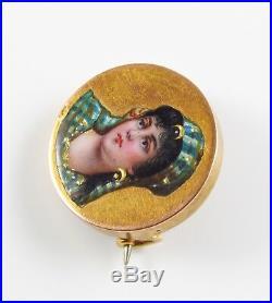 14K Gold Victorian Circular Enamel Egyptian Revival Lady Portrait Brooch Pin
