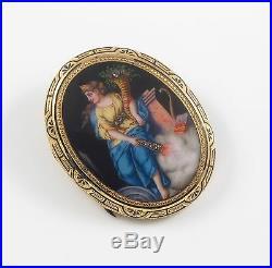 14K Gold Victorian Swiss Enamel Goddess Portrait Rose Cut Diamond Brooch Pin