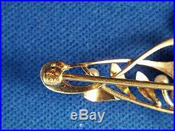 14K Krementz Art Nouveau Enamel Brooch Pin Calibrated Amethysts & Pearls