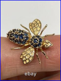 14K Solid Gold Vintage Sapphire Wasp/Bee Pendant Brooch Pin