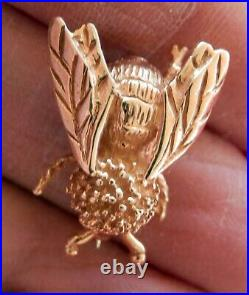 14K Solid Yellow Gold Amazing Bumble Bee Pin Brooch 4.2 Grams