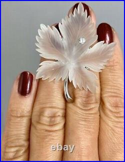 14K White Gold Diamond Carved Frosted Rock Crystal Maple Leaf Brooch Pin Pendant