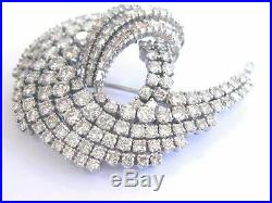 14K White Gold Over 5CT Round & Baguette Cut Diamond Vintage Pin Brooch