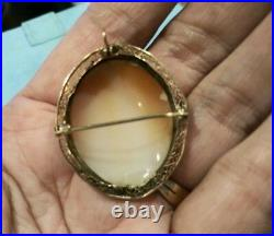 14K YELLOW GOLD Antique Victorian Detailed SHELL CAMEO PIN BROOCH or PENDANT