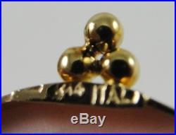 14K Yellow Gold Bezel Angel Skin Coral Cameo Pin Pendant Brooch 1-1/4
