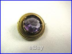 14K Yellow Gold Crown Prongs Old Faceted Amethyst Victorian Antique Brooch Pin