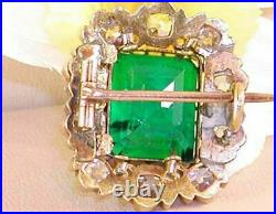 14K Yellow Gold Over 3.67 Carat Antique Diamond Colombian Emerald Brooch Pin