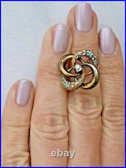 14K Yellow Gold Rose Cut Diamond Enamel Antique Victorian Love Knot Brooch Pin