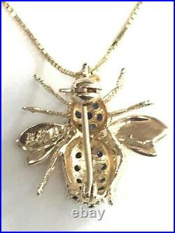14K Yellow Gold Sapphire Bee Pendant Brooch Vintage Insect Fly Pin 18 Necklace