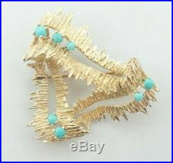 14K Yellow Gold Triangle Shape Textured Turquoise Brooch Pin 1.4 7g D8159