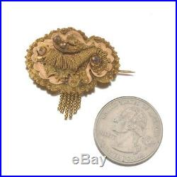 14K Yellow Rose Gold Antique Victorian Brooch Pin Fringe Etruscan Revival