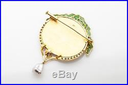 $14,000 TREE OF LIFE Plique a Jour 18k Gold Diamond Natural Pearl Brooch Pin 34g