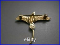 14 Kt Solid Yellow Gold Swallow Bird Brooch Pin With Exquisite Detailing 3.4 Gms
