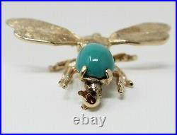 14 kt Yellow Gold Cabochon Turquoise BEE MOTIF Pin Brooch B0391