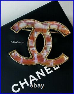 14a Chanel Supermarket Hologram Gold Multicolor Large CC Logo Brooch Pin