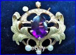 14k Gold Antique Art Nouveau Amethyst Pearl Brooch Watch Pin