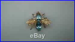 14k Gold & Aquamarine Bee or Fly Brooch Pin