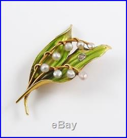 14k Gold Art Nouveau Bippart, Griscom & Osborn Enamel Pearl Leaf Brooch Pin