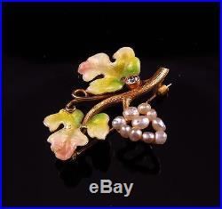 14k Gold Art Nouveau Enamel Diamond Pearl Grape Cluster Leaf Brooch Pin Pendant