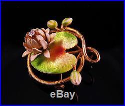 14k Gold Art Nouveau Enamel Water Lily Diamond Brooch Watch Pin Pendant