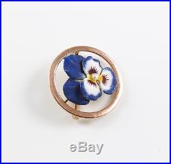 14k Gold Art Nouveau Krementz Enamel Pansy Pearl Circular Brooch Pin