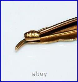 14k Gold Art Nouveau Krementz Enamel Peacock Feather Pin Brooch, Antique