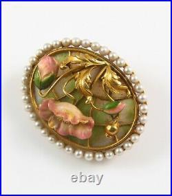 14k Gold Art Nouveau Plique A Jour Enamel & Pearl Poppy Flower Watch Pin Brooch