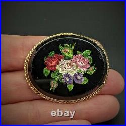 14k Gold Floral Micro Mosaic Brooch Pin, Italy, Antique, Grand Tour