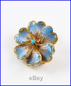 14k Gold French Style Art Nouveau Enamel & Turquoise Pansy Flower Brooch Pin