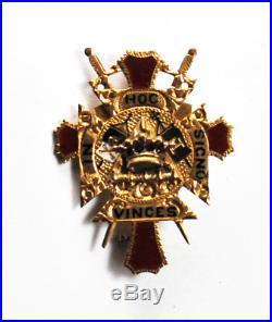14k Gold Knights Templar Freemason Red Cross Brooch Pin In Hoc Signo Vinces 32mm