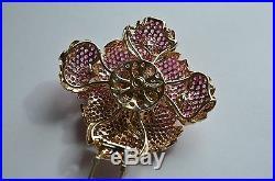 14k Gold PINK SAPPHIRE SONIA BITTON 3D PENDANT Pin BROOCH 57.5g