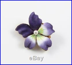 14k Gold Vintage Enamel Pearl Violet Pansy Floral Brooch Pin