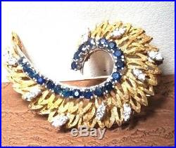 14k Gold and Sapphire & Diamond Feather Brooch Pin SIGNED