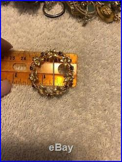 14k Plumb Yellow Gold ALA Ivy Ruby Brooch Pin 7.4 Grams Vintage Estate Not Scrap