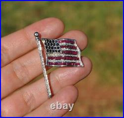 14k Solid White Gold American Flag Pin Brooch Pave Natural Diamond Ruby Sapphire