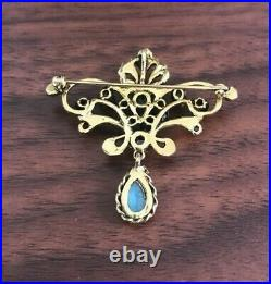 14k Vintage Opal & Seed Pearl Pin Yellow Gold Brooch Pendant