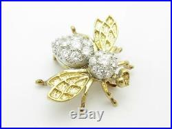 14k White Gold & Diamonds 3D Bumble Bee Design Vintage Brooch Pin Estate Piece