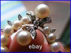14k White Gold Pearl Moving Drop Dangle Diamond Flower Wreath Pendant Pin Brooch